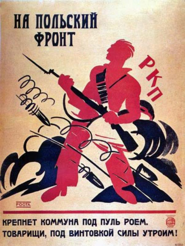 The slogan calls to enlist to the war with Poland